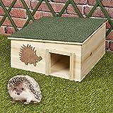 URBNLIVING Gran casa de erizo de madera, caja de refugio...